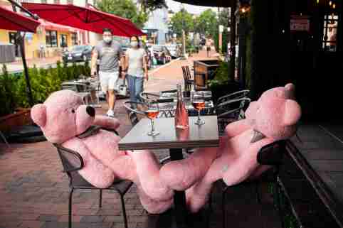UNITED STATES - SEPTEMBER 3: Teddy Bears are seated to maintain distance between tables at Flavio Restaurant in Georgetown on Thursday, September 3, 2020. (Photo By Tom Williams/CQ Roll Call/Sipa USA)No Use UK. No Use Germany.