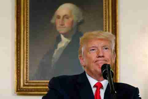 U.S. President Donald Trump pauses during a statement on the deadly protests in Charlottesville, at the White House in Washington, U.S., August 14, 2017.  REUTERS/Jonathan Ernst     TPX IMAGES OF THE DAY