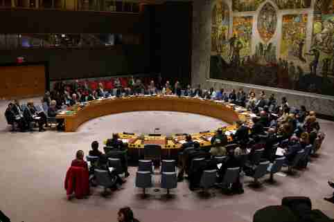 The United Nations Security Council meets about the situation in Syria at United Nations Headquarters in the Manhattan borough of New York City, New York, U.S., February 28, 2020. REUTERS/Carlo Allegri
