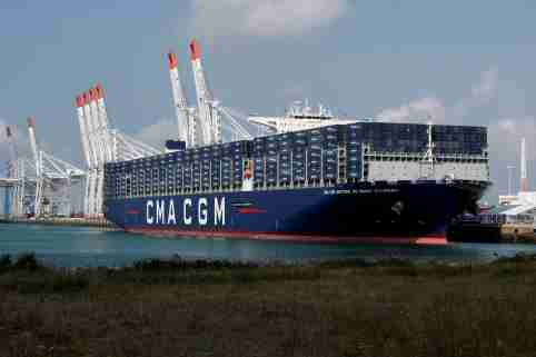 FILE PHOTO: The CMA CGM Antoine de Saint Exupery container ship sits docked during its official inauguration in Le Havre, France September 6, 2018. REUTERS/Benoit Tessier/File Photo