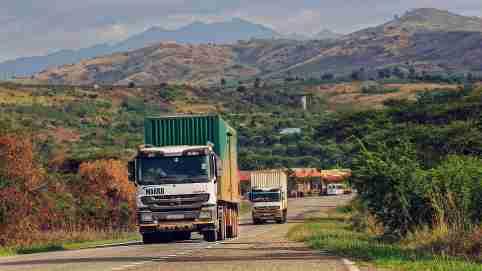 Kasese, Kasese / Uganda - Apr 15, 2017: Cargo trucks passing Uganda Border