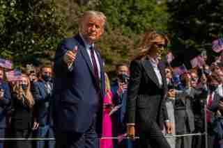 President Donald Trump and First Lady Melania Trump have tested positive for coronavirus (COVID-19), it was announced shortly after midnight on Friday, October 2, 2020.   They are seen leaving the White House to attend the first presidential debate in Cleveland, Ohio on Tuesday, September 29, 2020.     Photo by Ken Cedeno/Pool/Sipa USANo Use UK. No Use Germany.