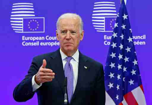 U.S. Vice President Joe Biden holds a joint statement with European Council President Donald Tusk ahead of a meeting at EU Council headquarters in Brussels February 6, 2015. Biden said on Friday that the United States and Europe needed to stand together over Ukraine and accused Russian President Vladimir Putin of calling for peace while rolling his troops through Ukrainian countryside.REUTERS/Yves Herman (BELGIUM - Tags: POLITICS)