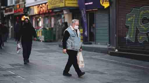 Istanbul/Turkey - 04 07 2020: masked man walking in the street