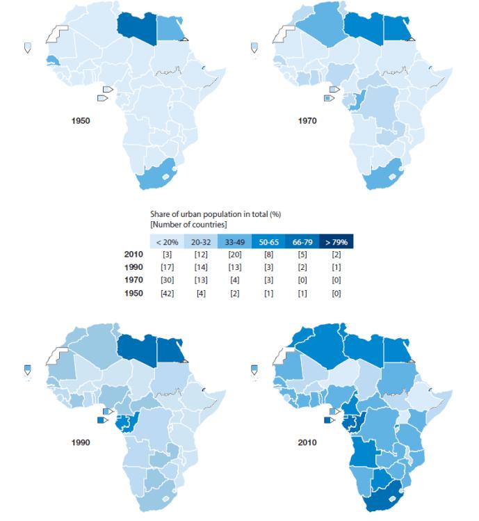 Figure 3. The evolution of urbanization in Africa, 1950-2010