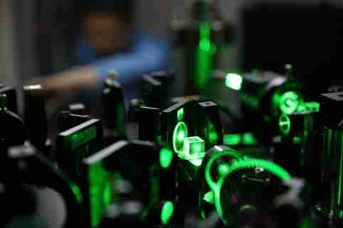 A Chinese researcher works on an ultracold atom device at the CAS-Alibaba Quantum Computing Laboratory in Shanghai, China.