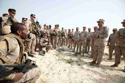 Admiral Ali Saeed Al Shehri speaks with soldiers during mixed maritime exercise with U.S. Navy and Saudi Royal Navy, at Saudi Military Port, Ras Al Ghar, Eastern Province, in Jubail, Saudi Arabia February 26, 2020. REUTERS/Hamad I Mohammed