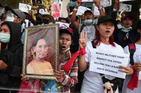 People rally against the military coup and to demand the release of elected leader Aung San Suu Kyi, in Yangon, Myanmar, February 9, 2021. REUTERS/Stringer