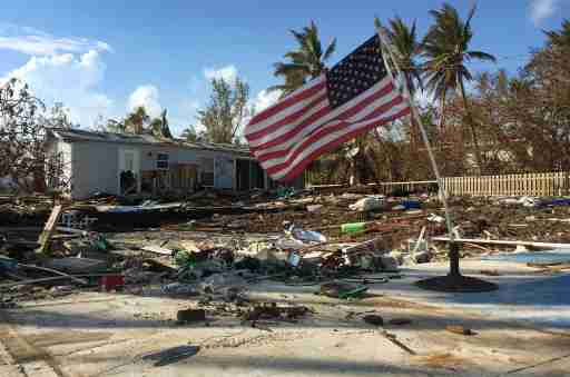 An American Flag waves where a home in the Sea Breeze Resort in Islamorada, Florida, used to stand onSep 14, 2017. The home was destroyed when Hurricane Irma brought high winds and flooding to the area destroying most of the homes in the community.Usp News Hurricane Irma Usa Fl