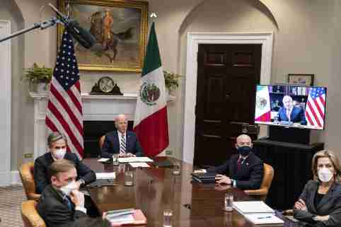 United States President Joe Biden participates in a virtual bilateral meeting with President Andrés Manuel López Obrador of Mexico in the Roosevelt Room of the White House in Washington. Also in attendance is U.S. National Security Advisor Jake Sullivan, U.S. Secretary of State Antony Blinken, U.S. Secretary of Homeland Security Alejandro Mayorkas and Elizabeth Sherwood-Randall, Deputy National Security Advisor for Homeland Security.Featuring: Joe Biden, Alejandro Mayorkas, Antony Blinken, Jake Sullivan, Elizabeth Sherwood-Randall, Andrés Manuel López ObradorWhere: Washington, District Of Columbia, United StatesWhen: 01 Mar 2021Credit: POOL via CNP/InStar/Cover Images