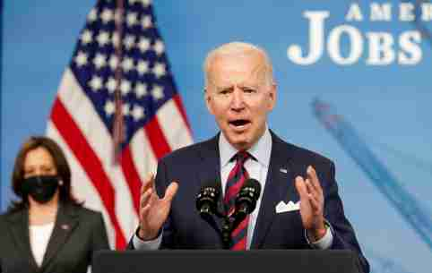 FILE PHOTO: FILE PHOTO: U.S. President Joe Biden speaks about jobs and the economy at the White House in Washington, U.S., April 7, 2021. REUTERS/Kevin Lamarque/File Photo/File Photo/File Photo