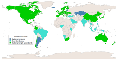 Countries with carbon pricing initiatives or green bonds
