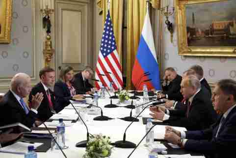 GENEVA, SWITZERLAND – JUNE 16, 2021: US President Joe Biden (L) and Russia's President Vladimir Putin (2nd R) meet for talks at the Villa La Grange. Mikhail Metzel/TASS.No use Russia.