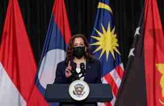 U.S. Vice President Kamala Harris delivers remarks during the official launch of the CDC Southeast Asia Regional Office in Hanoi, Vietnam, August, 25, 2021. REUTERS/Evelyn Hockstein/Pool