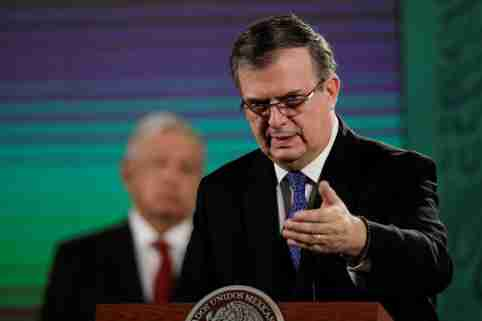 Mexican Foreign Minister Marcelo Ebrard speaks during a news conference as Mexico aims to gradually lift pandemic-induced restrictions on its shared border with the United States as it progresses in vaccinating the local population against the coronavirus disease (COVID-19), at the National Palace in Mexico City, Mexico June 15, 2021. REUTERS/Luis Cortes
