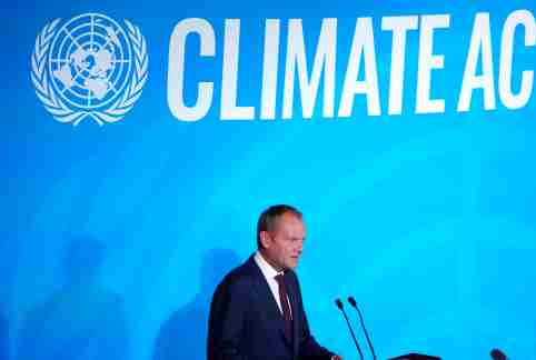 European Union President of the European Council Donald Tusk speaks during the 2019 United Nations Climate Action Summit at U.N. headquarters in New York City, New York, U.S., September 23, 2019. REUTERS/Carlo Allegri