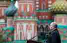 MOSCOW, RUSSIA – MAY 9, 2021: Russia's President Vladimir Putin makes remarks during a Victory Day military parade marking the 76th anniversary of the victory over Nazi Germany in World War II, in Moscow's Red Square. Mikhail Metzel/TASS.No use Russia.
