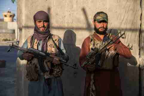 EDITORIAL USE ONLY - Two taliban fighters in charge of the security in Darullaman Palace in Kabul. Kabul, Afghanistan, September 15, 2021. Photo by Oriane Zerah/ABACAPRESS.COM