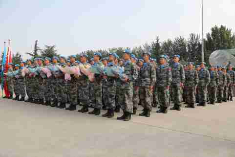 Second team of the ninth batch of Chinese Peacekeeping force in the Republic of South Sudan finish their mission and arrive at an airport in Zhengzhou city, central China's Henan province, 29 September 2019.   fachaoshiNo Use China. No Use France.