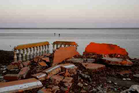 The ruins of a monastery are seen after a riverbank collapsed in Ta Dar U village, Bago, Myanmar.