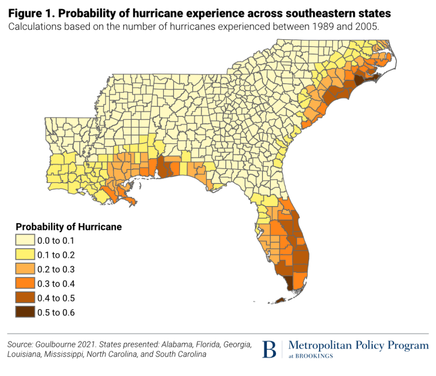 Probability of hurricane experience across southeastern states