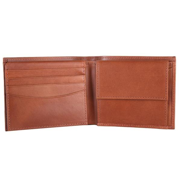 RFID Blocking Bifold Genuine Leather Wallet For Men With Coin Pocket And ID Window   Tan