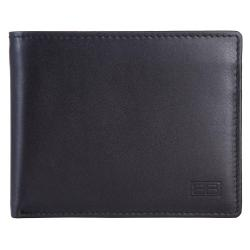 RFID Blocking Bi-fold Genuine Leather Wallet For Men With Removable ID Windows | Black