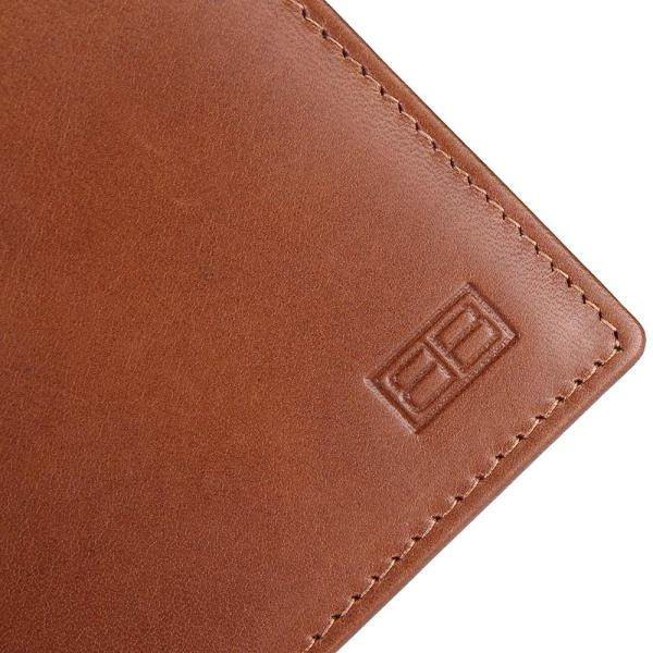 RFID Blocking Bi-fold Genuine Leather Wallet For Men With Removable ID Windows | Tan
