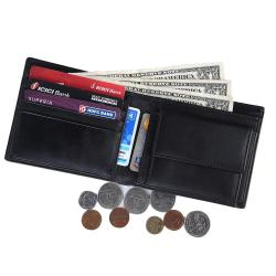 RFID Blocking Bi-fold Genuine Leather Wallet For Men With Coin Pocket | Black