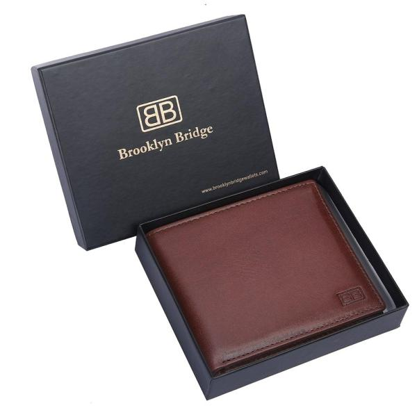 RFID Blocking Bifold Genuine Leather Slim Leather Wallet For Men | Brown