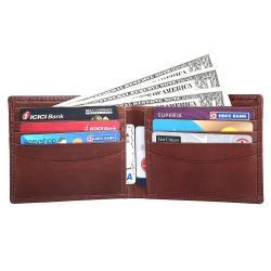 RFID Blocking Bifold Genuine Leather Slim Leather Wallet For Men   Brown