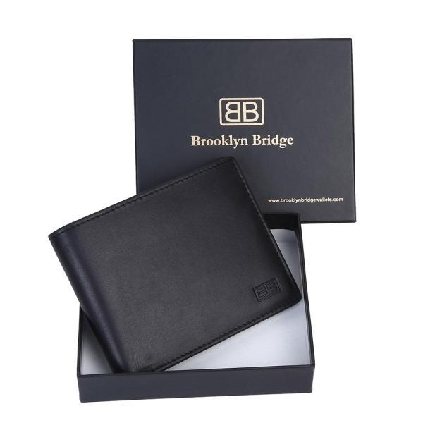 RFID Blocking Bifold Genuine Leather Slim Leather Wallet For Men   Black