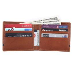 RFID Blocking Bifold Genuine Leather Slim Wallet For Men | Tan