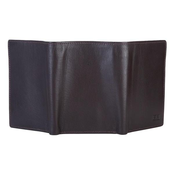 RFID Blocking Trifold Genuine Leather Wallet For Men With ID Window   Dark Brown