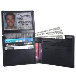 RFID Blocking Bifold Genuine Leather Wallet For Men With Coin Pocket And ID Window | Black