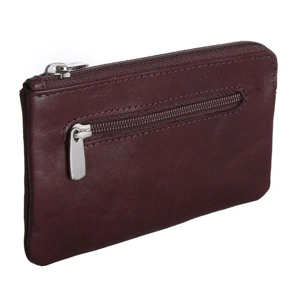Genuine Leather Pouch With Key Chain   Brown