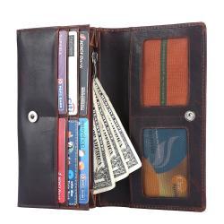 RFID Blocking Genuine Leather Clutch Wallet for Women | Dark Brown