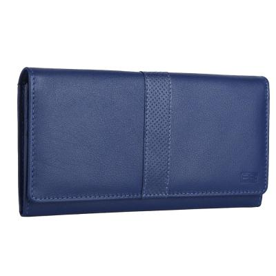 RFID Blocking Genuine Leather Clutch Wallet for Women | Blue