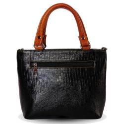 Genuine Leather Hand Bag For Women | Croco Black