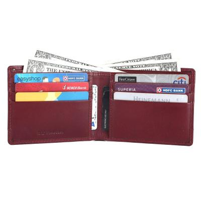 RFID Blocking Bifold Genuine Leather Slim Wallet For Men With Coin Pocket And ID Window | Blood Red