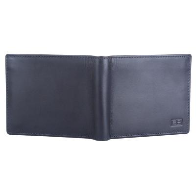 RFID Blocking Bifold Genuine Leather Wallet For Men With Coin Pocket And ID Window | Navy Blue