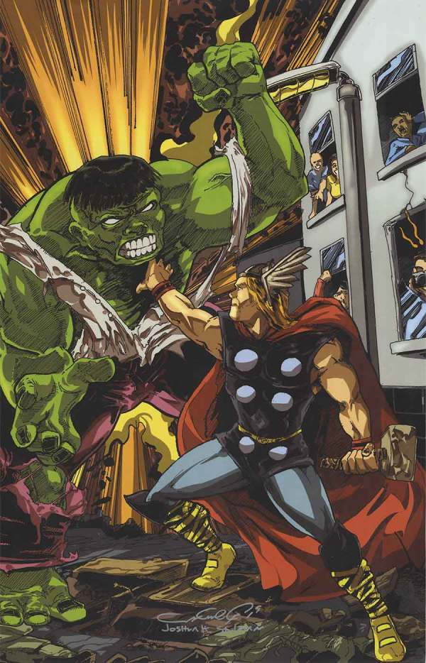 Hulk Thor Comic Art Print Joshua . Stulman