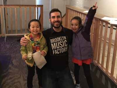 Ben with his piano students, at a gig!
