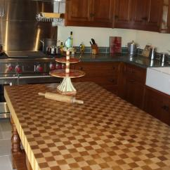 Copper Kitchen Hoods Stove With Griddle Patterned End Grain Wood Countertops - Brooks Custom
