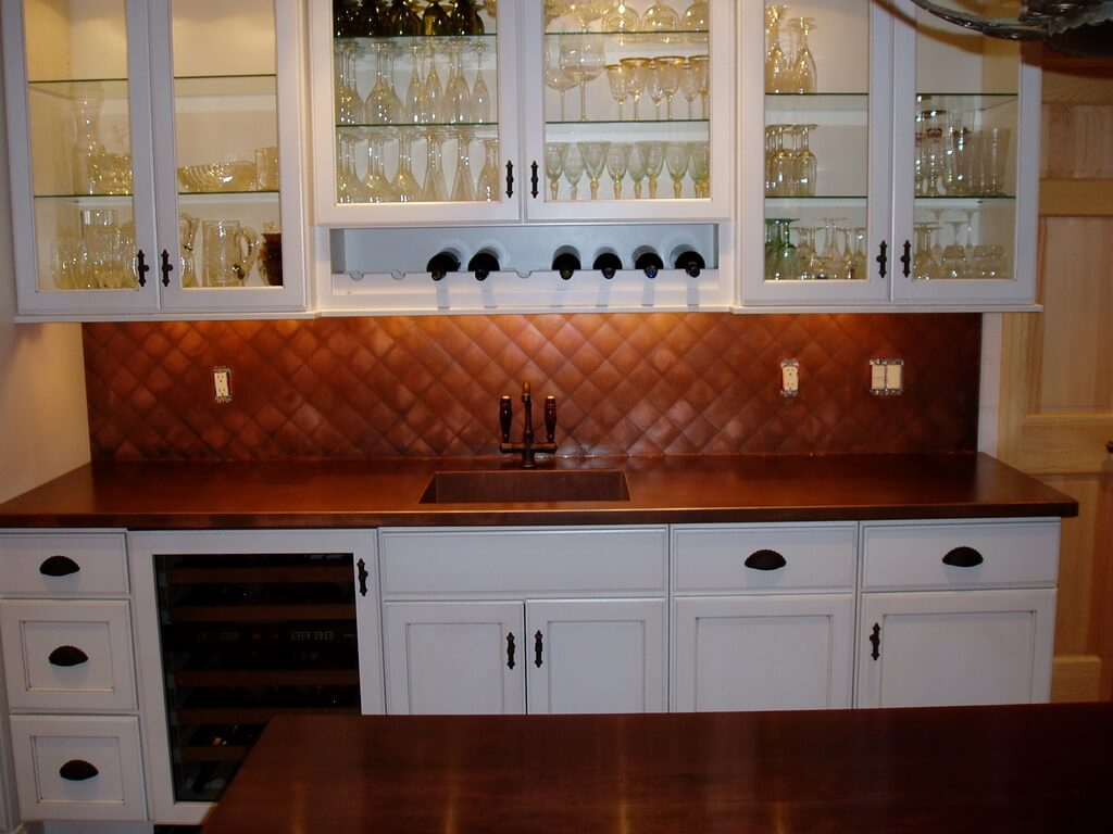 copper kitchen countertops banquette bench backsplashes brooks custom