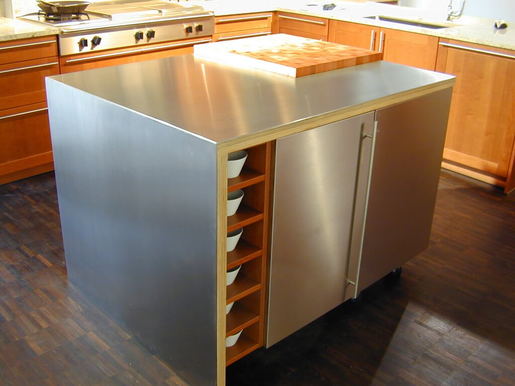 stainless steel kitchen islands white wooden chairs countertop brooks custom