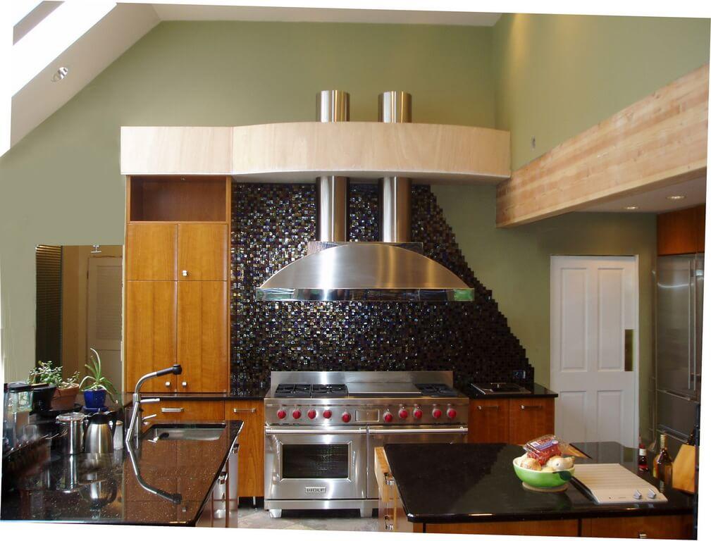 concrete countertops kitchen french table marble stainless steel range hoods - brooks custom