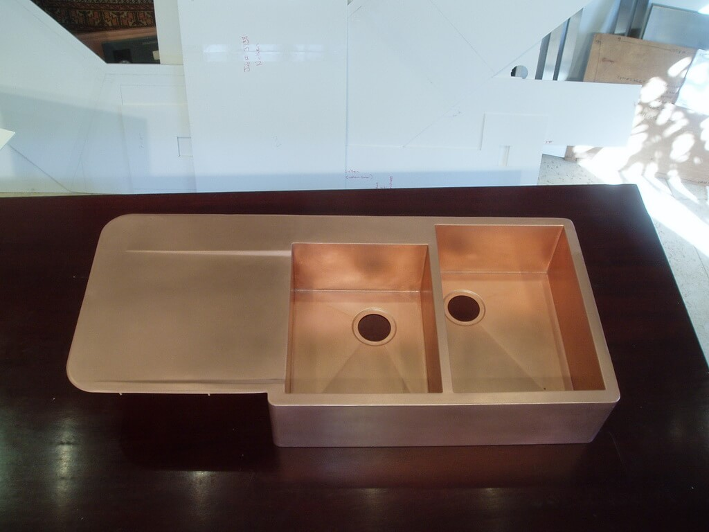 double kitchen sink with drainboard white hutch cabinet copper countertops hoods sinks ranges panels by brooks