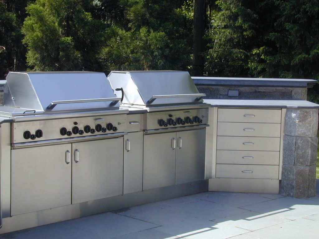 outdoor kitchen cabinets stainless steel blue wall clocks countertops brooks custom