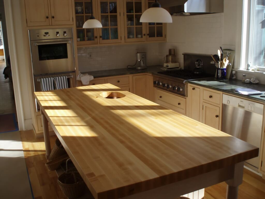 maple countertops kitchen table with bench set edge grain island top brooks custom